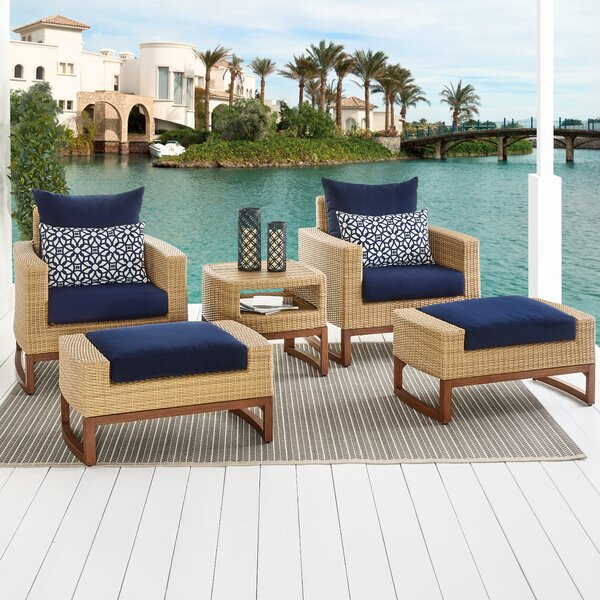 Addison 5 Piece Sunbrella Conversation Set with Cushions by Bayou Breeze