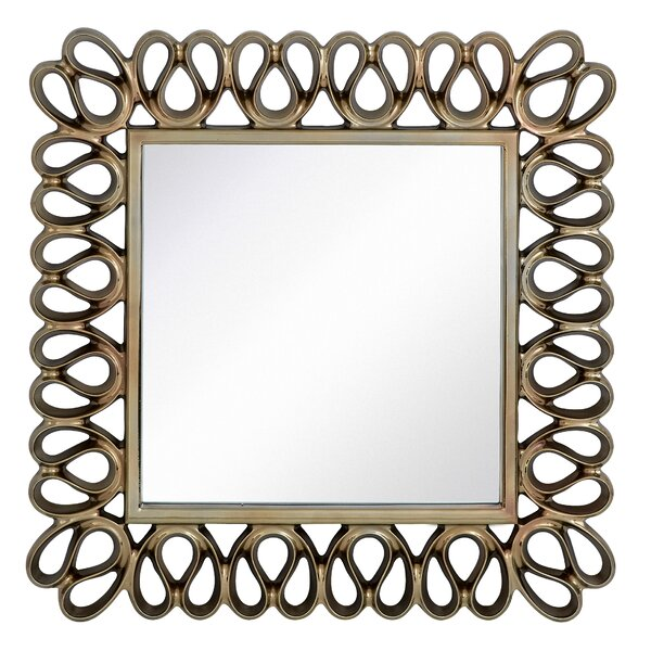 Stylish Contemporary Square Pewter Framed Glass Hanging Wall Mirror by Majestic Mirror