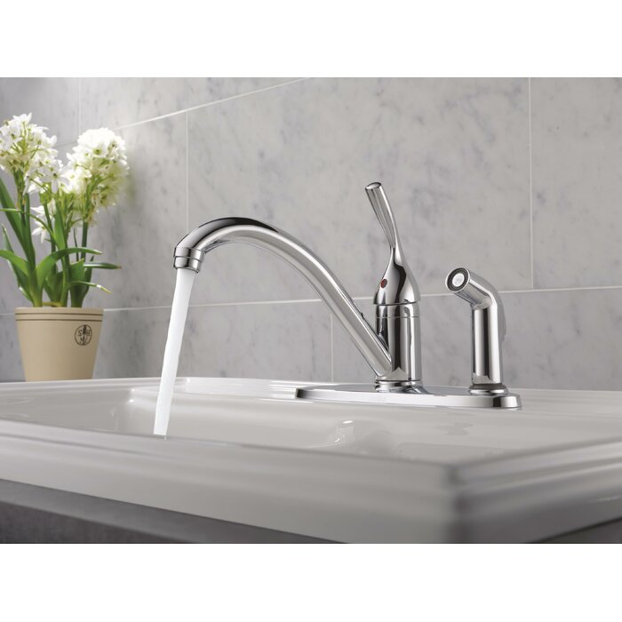 Classic Single Handle Standard Kitchen Faucet with Side Spray and Diamond  Seal Technology