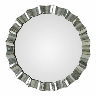 Bloomsbury Market Petrovich Scalloped Round Accent Mirror