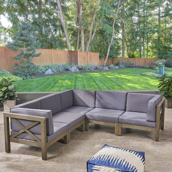 Ansel Outdoor 5 Piece Sectional Seating Group with Cushion by Highland Dunes