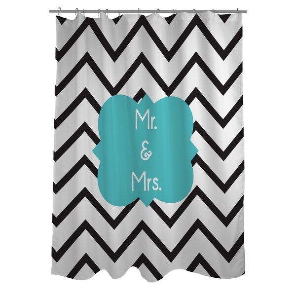 Mr. and Mrs. Chevron Shower Curtain by One Bella Casa
