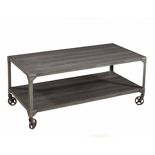 Rufus Wood and Metal Loft Coffee Table by 17 Stories