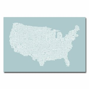 US City Map VIII by Michael Tompsett Textual Art on Wrapped Canvas by Trademark Fine Art