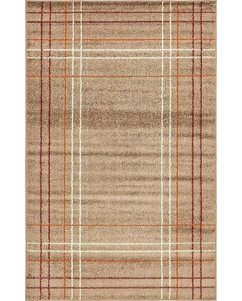 Bryan Light Brown Plaid Area Rug by Ebern Designs