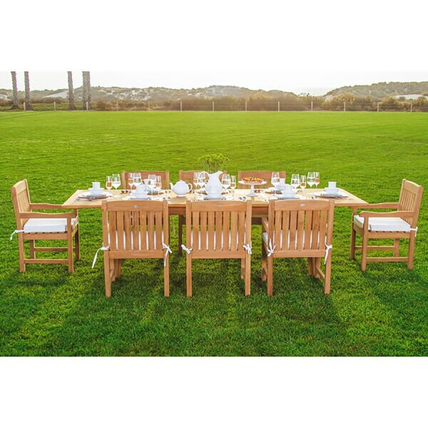 Gorgas Luxurious 9 Piece Teak Dining Set by Rosecliff Heights