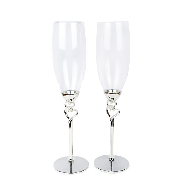 Patrick Double Hearts Champagne Flute (Set of 2) by Red Barrel Studio
