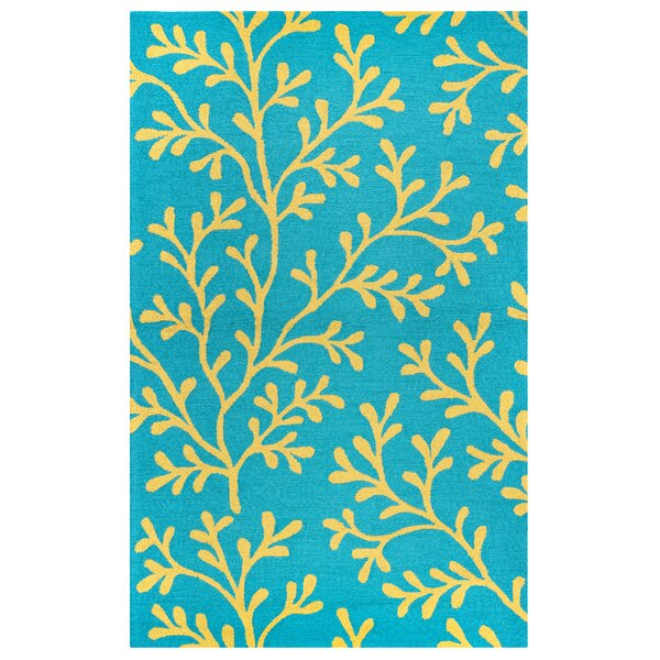 Maryland Hand-Tufted Teal Indoor/Outdoor Area Rug by Beachcrest Home