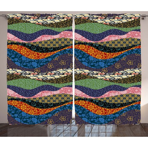 Bloomsbury Market Bridgelands Fabric Asian Patchwork with Flowers ...
