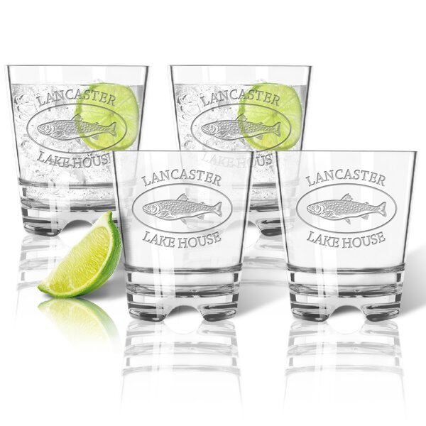 Tritan Lake House and Trout Double 12 oz. Old Fashion Glass (Set of 4) by Carved Solutions