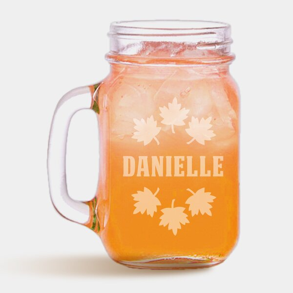Personalized Autumn Fall Leaves 16 oz. Mason Jar by Monogramonline Inc.