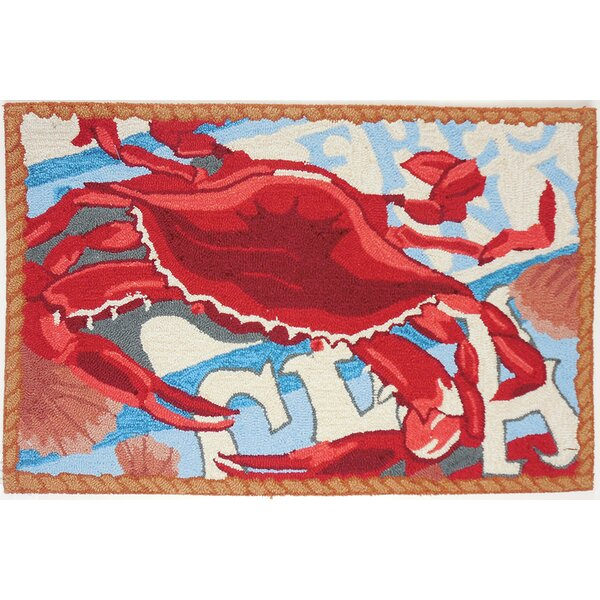 Dalvey Fresh Catch Crab Red/Blue Area Rug by Breakwater Bay