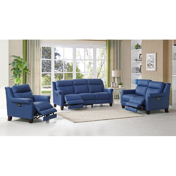 Dolce Reclining Leather 3 Piece Living Room Set by HYDELINE