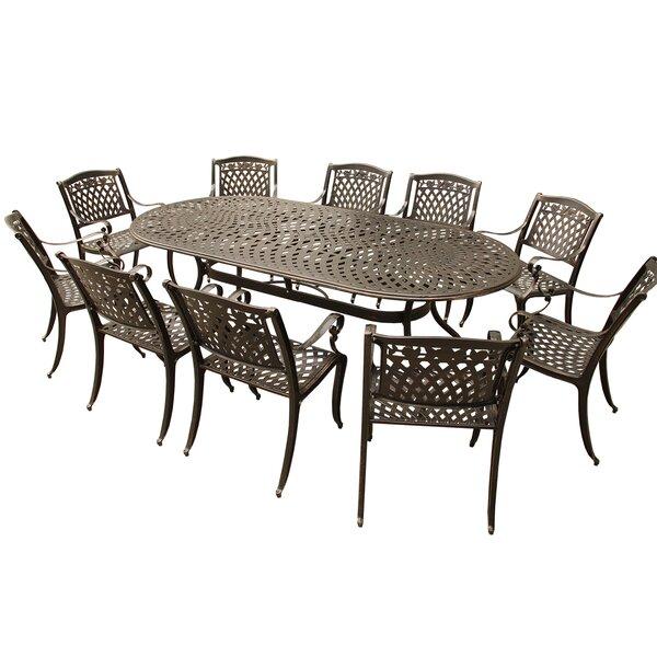 Caskey Rose Outdoor Mesh Lattice 11 Piece Dining Set