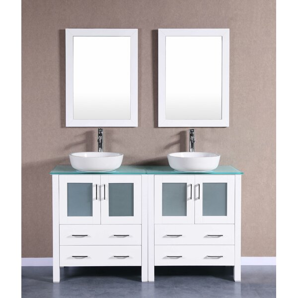 Cambridge 59 Double Bathroom Vanity Set with Mirror by Bosconi