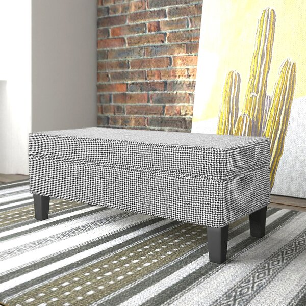 Patterson Ebony Houndstooth Upholstered Storage Bench with Piping by Charlton Home