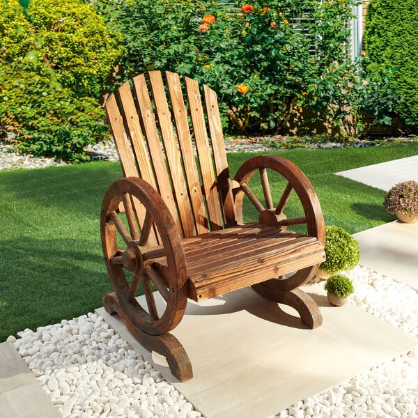 Ibrahim Wagon-Wheel Solid Wood Adirondack Chair by Rosalind Wheeler Rosalind Wheeler