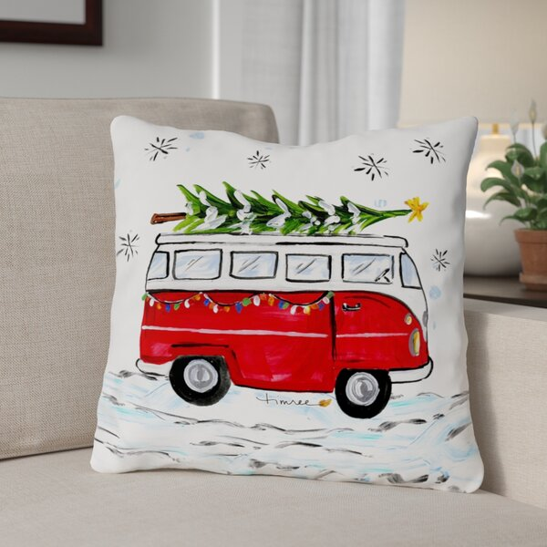 Christmas Bus Throw Pillow by The Holiday Aisle