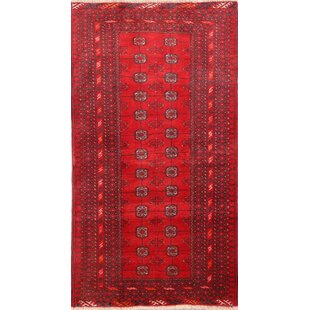 Find a One-of-a-Kind Melfa Vintage Geometric Balouch Persian Hand-Knotted 3'4 x 6' Wool Red/Black Area Rug By Isabelline