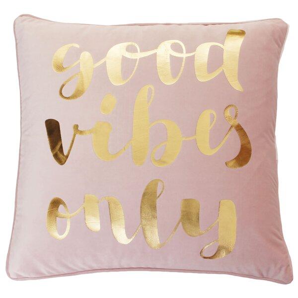 Zuniga Good Vibes Only Script Velvet Pillow by Mercer41