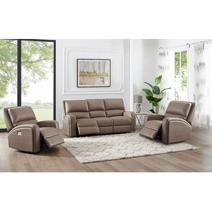 3 Piece Genuine Leather Reclining Configurable Living Room Set by Latitude Run®