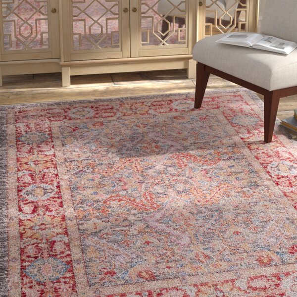 Eagle Harmor Distressed Gray/Dark Red Area Rug by Bungalow Rose