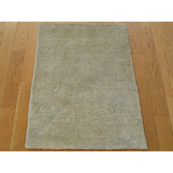 One-of-a-Kind Bellevue Art Plain Hand-Knotted Beige Silk Area Rug by Isabelline
