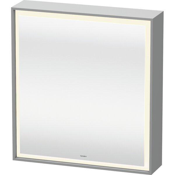L-Cube Surface Mount Framed 1 Door Medicine Cabinet with 2 Shelves and LED Lighting