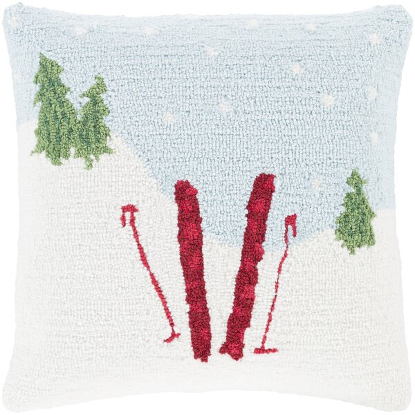 Skis Winter Throw Pillow by The Holiday Aisle