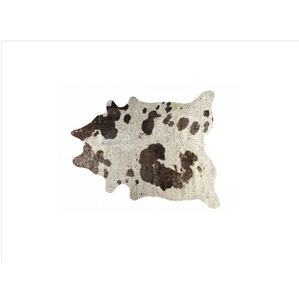 Houchin Cowhide Chocolate/White Area Rug by Brayden Studio