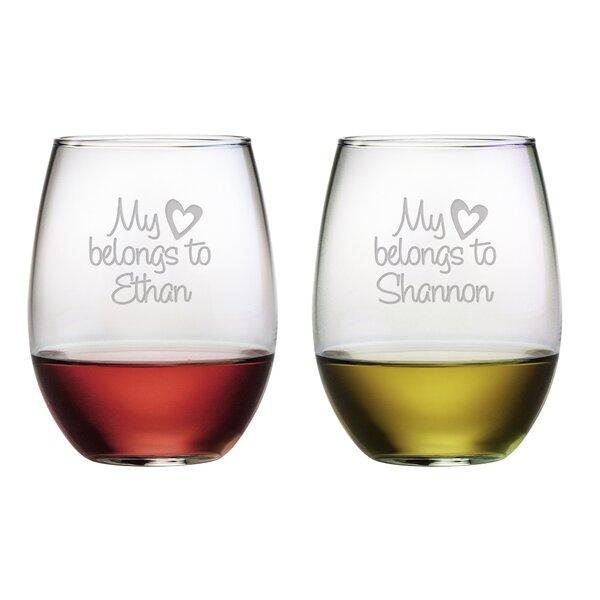 My Heart Belongs Stemless Wine Glass (Set of 2) by Susquehanna Glass