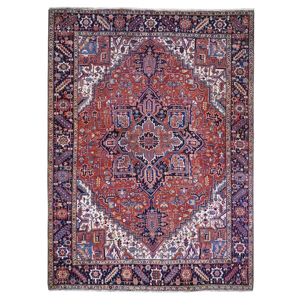 One-of-a-Kind Hand-Knotted 1930s Heriz Red/Blue/Beige 9' x 12' Area Rug