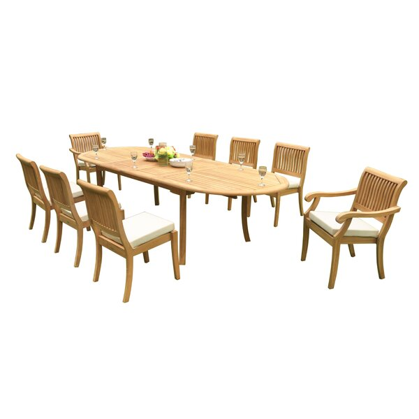 Masten 9 Piece Teak Dining Set by Rosecliff Heights