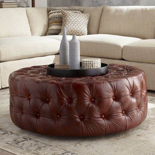 Leather Cocktail Ottoman by DwellStudio