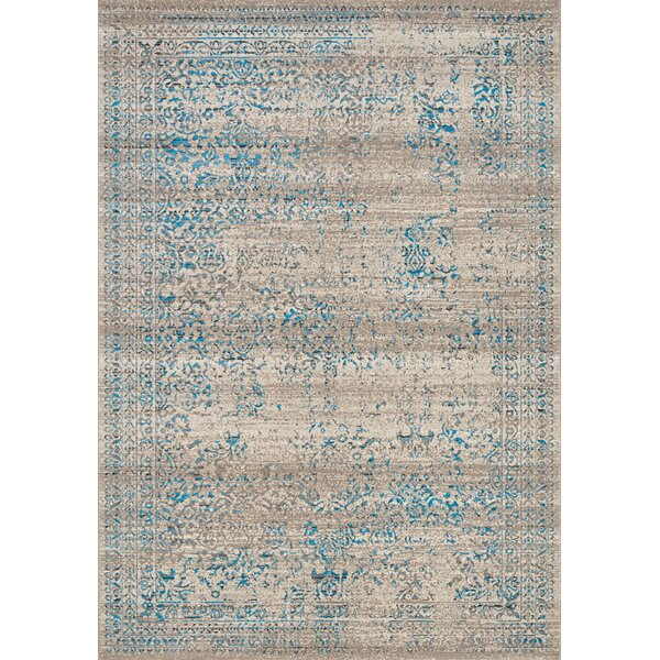 Billerica Distressed Border Gray/Blue Area Rug by Bungalow Rose