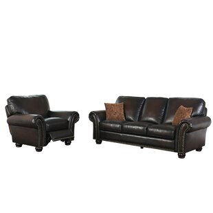 Fallsburg Reclining 2 Piece Leather Living Room Set by DarHome Co