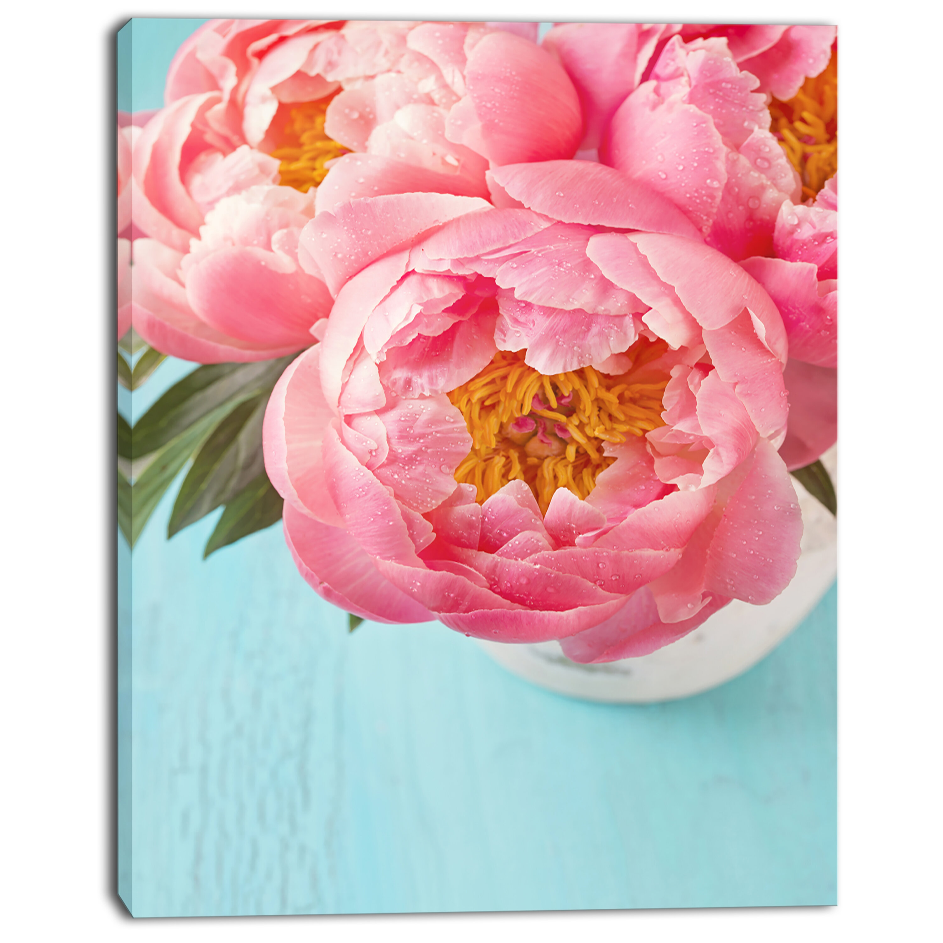 Bunch Of Light Pink Peony Flowers Photographic Print On Wrapped