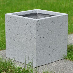 Garden Patio Plant Pot Indoor Outdoor Planter Stone effect Square Black 50cm