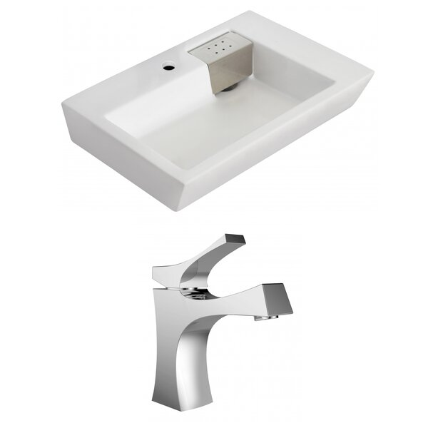 Ceramic 26 Wall Mount Bathroom Sink with Faucet and Overflow