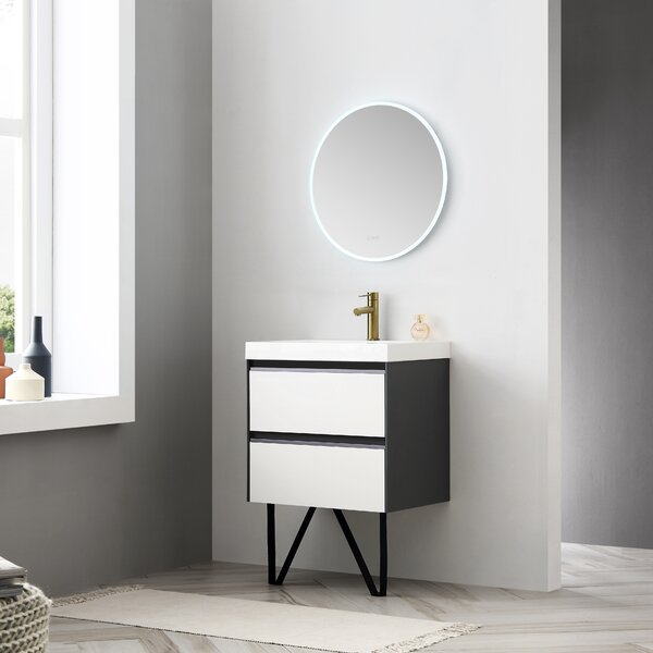 Courtnie Waterproof Ergonomic 24 Single Bathroom Vanity Set with Mirror