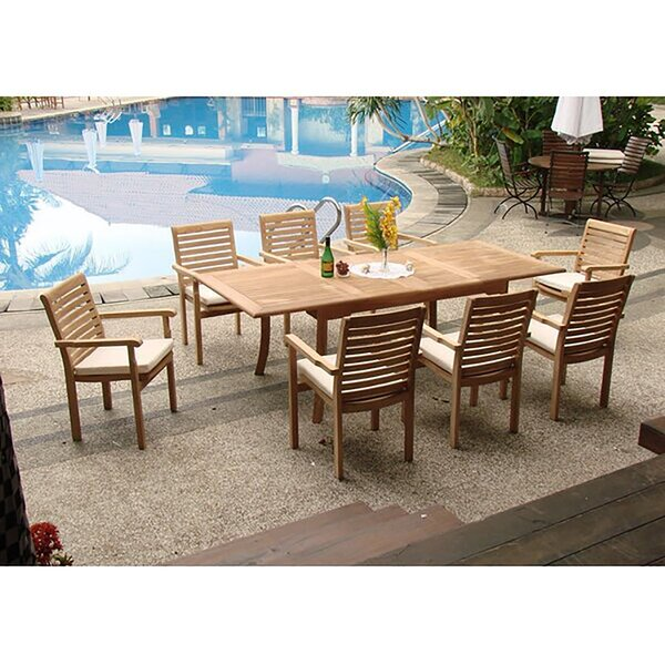 Smith Luxurious 9 Piece Teak Dining Set by Rosecliff Heights