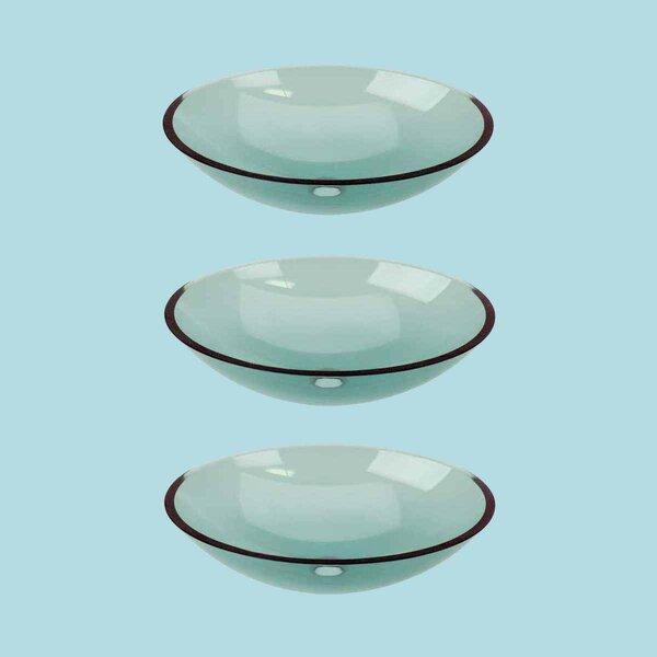 Pop-Up Glass Oval Vessel Bathroom Sink (Set of 3)
