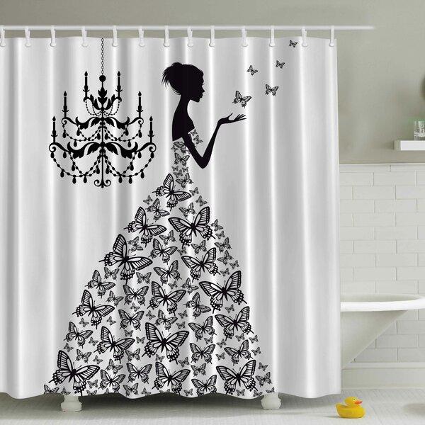 Rowena Madame Butterfly Print Shower Curtain by Viv + Rae