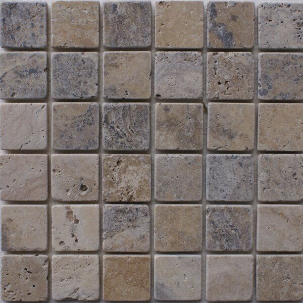 Philadelphia 2 x 2 Travertine Mosaic Tile in Grey by Epoch Architectural Surfaces