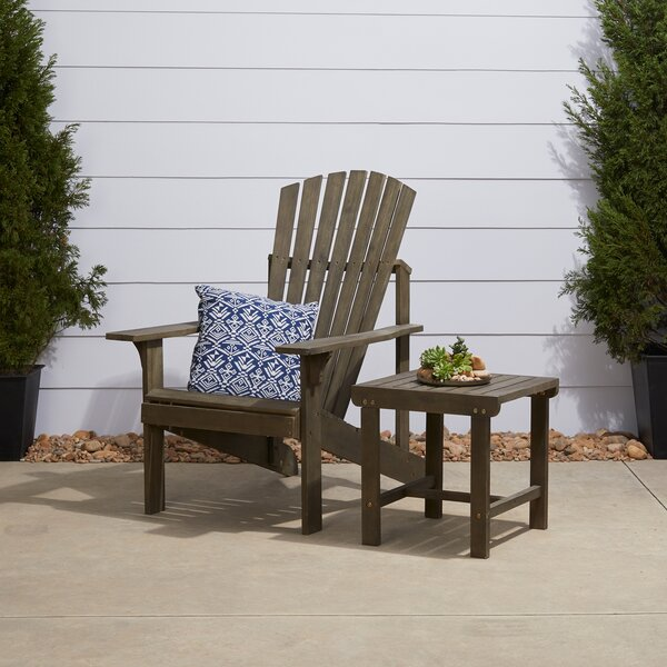 Amabel Patio Solid Wood Adirondack Chair with Table by Beachcrest Home Beachcrest Home