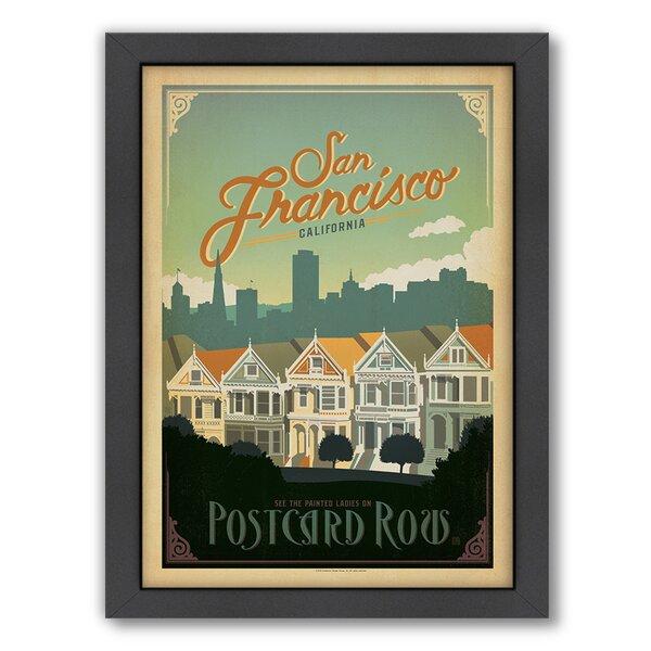 San Francisco Postcard Row Framed Vintage Advertisement by East Urban Home