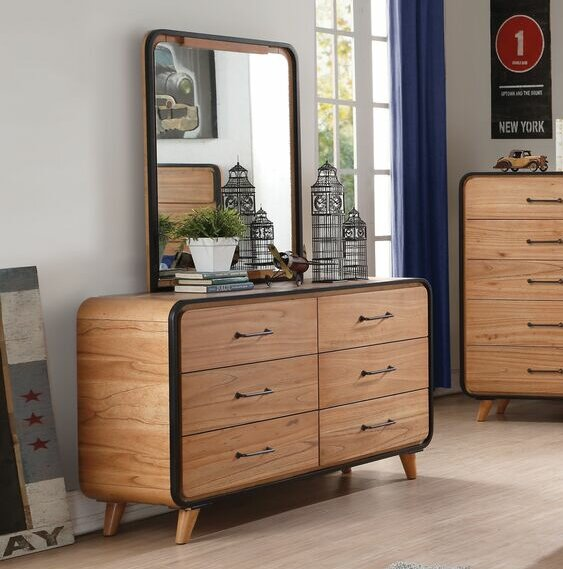 Gipson 6 Drawer Double Dresser with Mirror by Modern Rustic Interiors