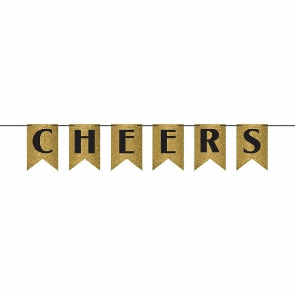 Cheers Glitter Pennant Paper Banner by Amscan