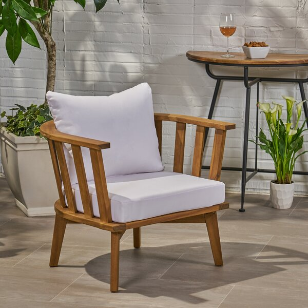 Teague Outdoor Patio Chair with Cushions by Rosecliff Heights