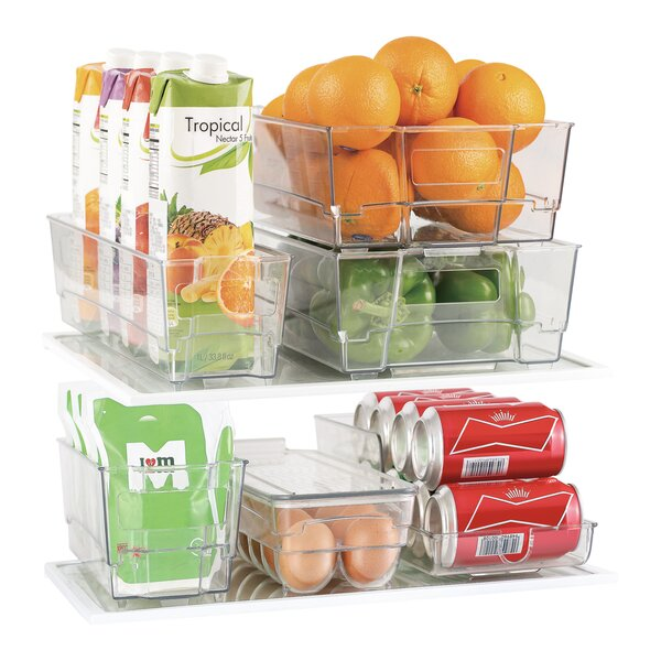 7 Piece Refrigerator and Freezer Stackable Fridge Bin Set by Rebrilliant